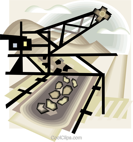 coal or mineral mining Royalty Free Vector Clip Art illustration vc006287