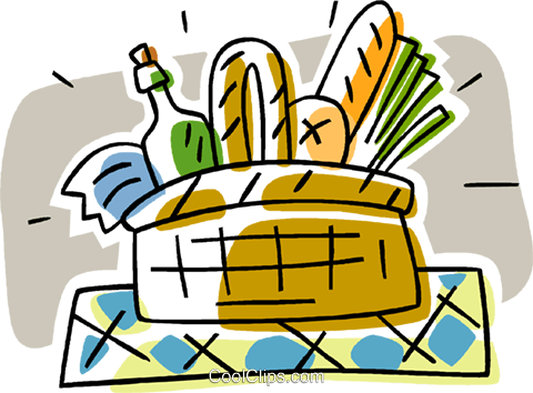 picnic basket Royalty Free Vector Clip Art illustration vc006336