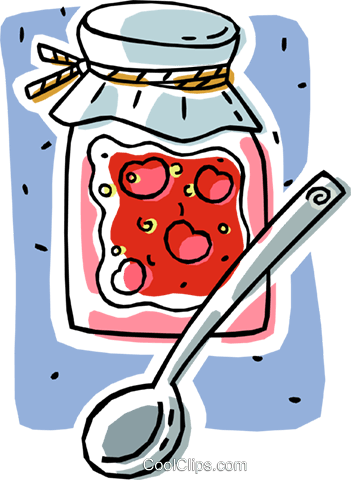 preserves, cherry jelly Royalty Free Vector Clip Art illustration vc006355