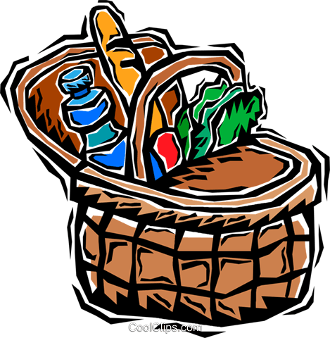 picnic basket Royalty Free Vector Clip Art illustration vc006363