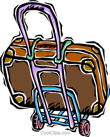 suitcase dolly Royalty Free Vector Clip Art illustration vc006364