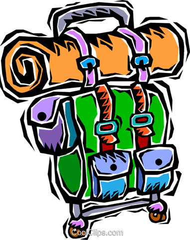 Back Pack Camping Gear Royalty Free Vector Clip Art Illustration