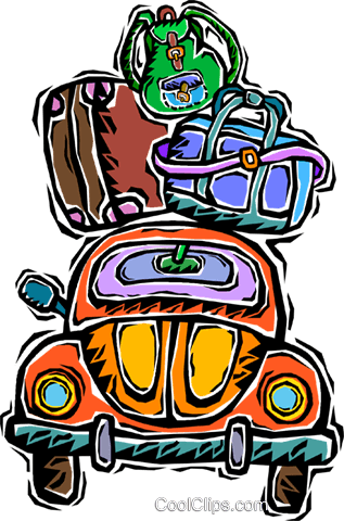car, packed ready for travel Royalty Free Vector Clip Art illustration vc006392