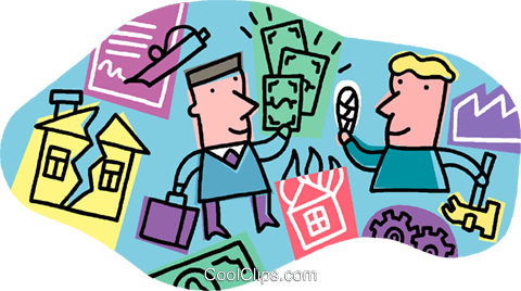 Insurance salesman with client Royalty Free Vector Clip Art illustration vc006422