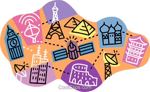 worldwide communications networks Royalty Free Vector Clip Art illustration vc006428