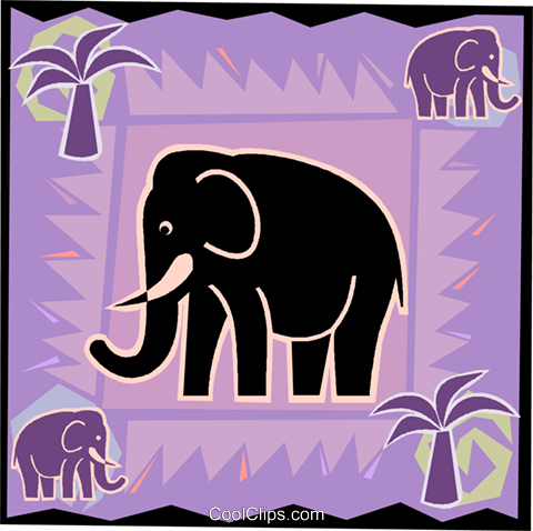 elephant with palm trees Royalty Free Vector Clip Art illustration vc006499