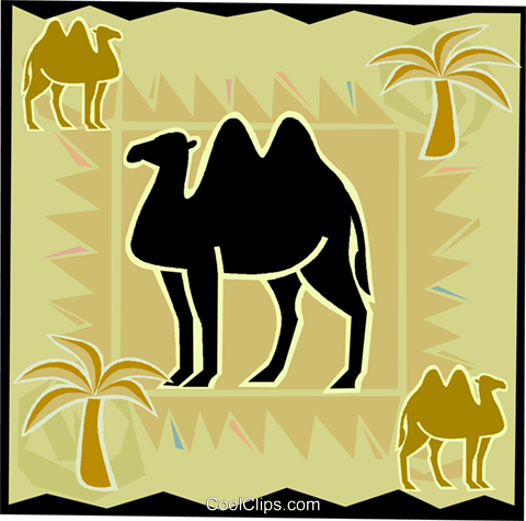 camel with palm trees Royalty Free Vector Clip Art illustration vc006509