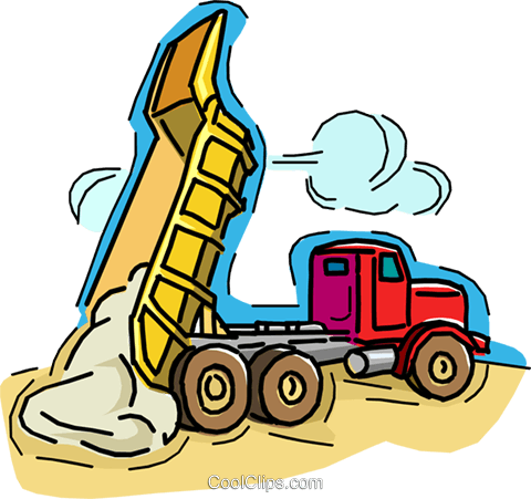 dump truck, dumping load of gravel Royalty Free Vector Clip Art illustration vc006521