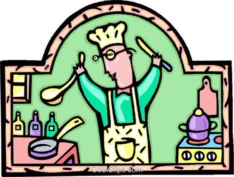 chef preparing a meal Royalty Free Vector Clip Art illustration vc006551