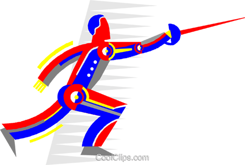 Man fencer Royalty Free Vector Clip Art illustration vc006565