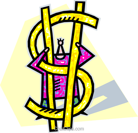 human symbol with dollar sign Royalty Free Vector Clip Art illustration vc006566