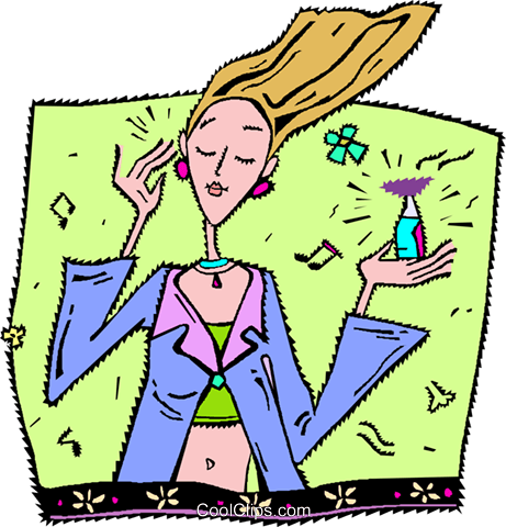 putting on perfume Royalty Free Vector Clip Art illustration vc006584