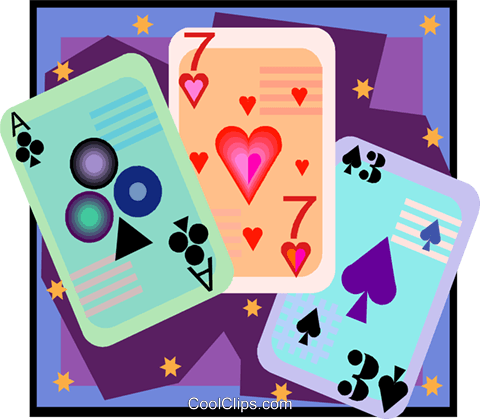 playing cards in decorative frame Royalty Free Vector Clip Art illustration vc006602