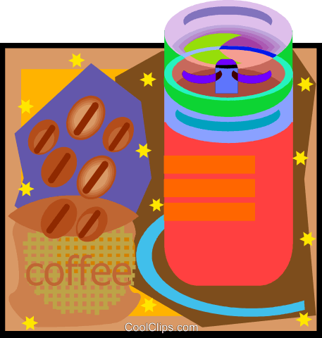 coffee beans and coffee mill Royalty Free Vector Clip Art illustration vc006603