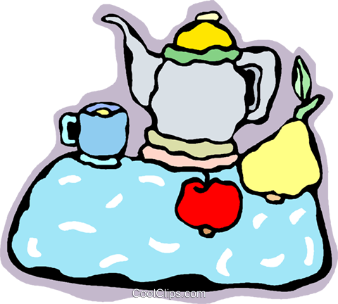 tea pot, tray, snack Royalty Free Vector Clip Art illustration vc006700