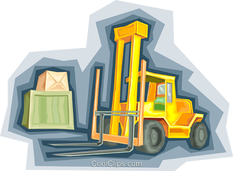 forklift truck, warehouse, cargo Royalty Free Vector Clip Art illustration vc006752
