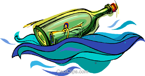 message in a bottle Royalty Free Vector Clip Art illustration vc006766