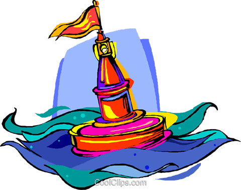 buoy, floating channel marker Royalty Free Vector Clip Art illustration vc006769