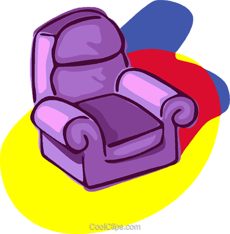 sofa chair, living room, furniture Royalty Free Vector Clip Art illustration vc006815