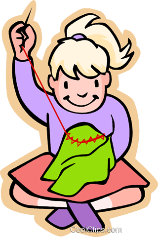 children at play kids girl sewing royalty free vector clip art rh search coolclips com sewing machine clipart free sewing clip art free downloads