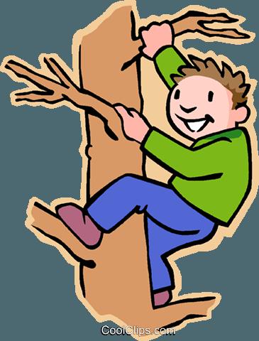 boy climbing tree Royalty Free Vector Clip Art ...