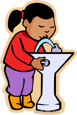 girl at drinking fountain Royalty Free Vector Clip Art illustration vc006853