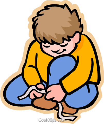 boy tying shoe laces Royalty Free Vector Clip Art illustration vc006854