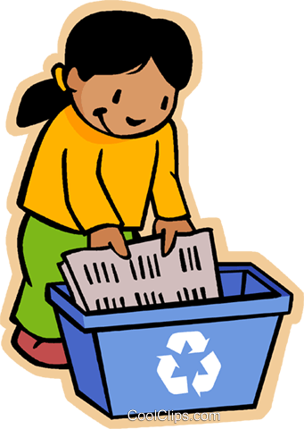 girl recycling using blue box Royalty Free Vector Clip Art illustration vc006863