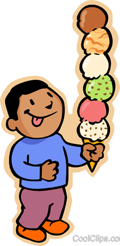 boy with six scoop ice cream cone Royalty Free Vector Clip Art illustration vc006869