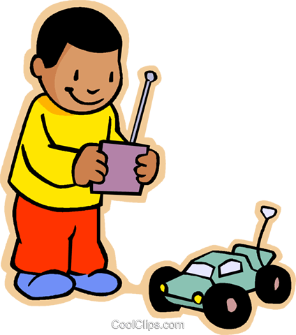children at play, kids, boy with RC car Royalty Free Vector Clip Art illustration vc006874