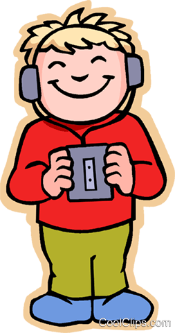 girl listening to music, tape recorder Royalty Free Vector Clip Art illustration vc006877