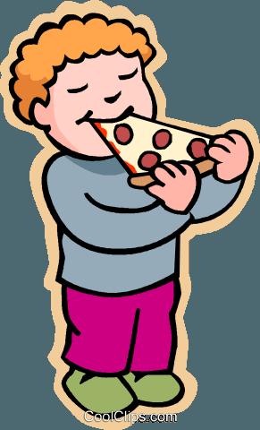 Kinder Spielen Kinder Junge Pizza Essen Vektor Clipart Bild