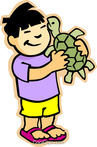 children at play, kids, boy with turtle Royalty Free Vector Clip Art illustration vc006879