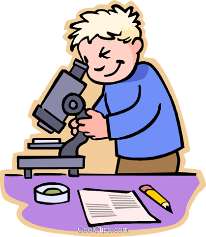 Boy looking through microscope Royalty Free Vector Clip Art illustration vc006880