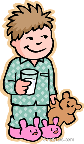 boy going to bed, with teddy bear Royalty Free Vector Clip Art illustration vc006882