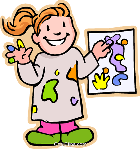 Girl artist showing painting Royalty Free Vector Clip Art ...
