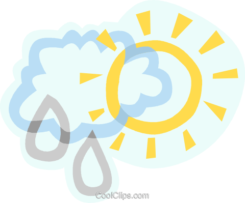 weather, sun and rain cloud Royalty Free Vector Clip Art illustration vc006889