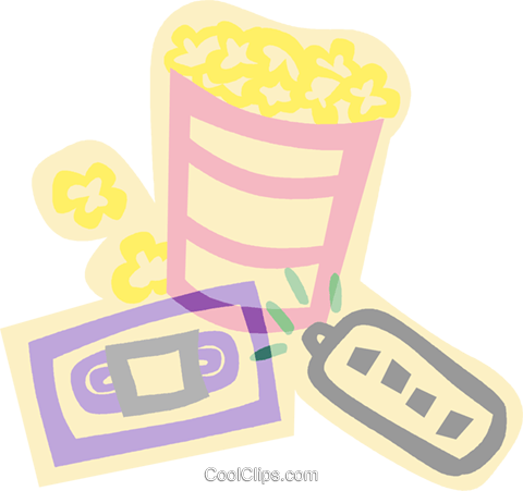 decorative symbol, video time, popcorn Royalty Free Vector Clip Art illustration vc006893