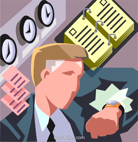 businessman checking his watch Royalty Free Vector Clip Art illustration vc006982