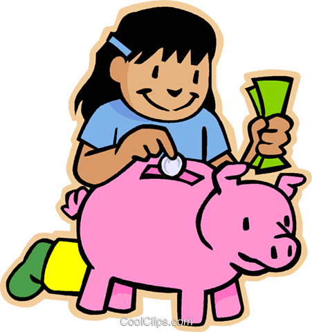 girl putting money in piggy bank Royalty Free Vector Clip Art illustration vc006987