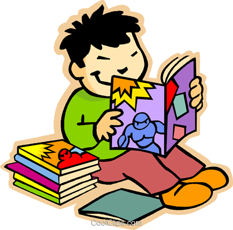 boy reading comic books Royalty Free Vector Clip Art illustration vc006993