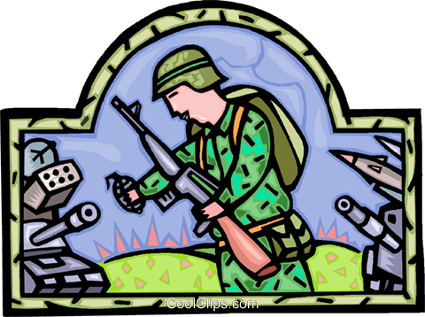 soldier with grenade in hand, military Royalty Free Vector Clip Art illustration vc006998