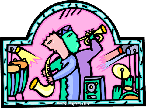 jazz musicians, entertainment Royalty Free Vector Clip Art illustration vc007003