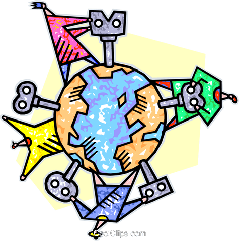 wind-up keys in mother earth Royalty Free Vector Clip Art illustration vc007018