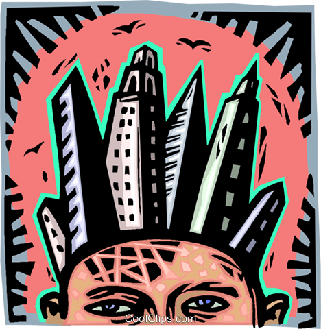 skyscrapers rising up out of man's head Royalty Free Vector Clip Art illustration vc007020