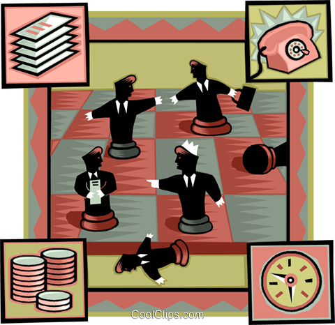 business chess match Royalty Free Vector Clip Art illustration vc007039