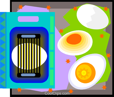egg slicer with eggs in decorative frame Royalty Free Vector Clip Art illustration vc007099