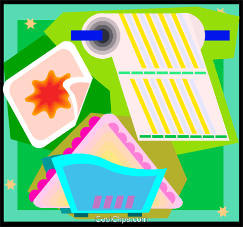 paper towel and napkins Royalty Free Vector Clip Art illustration vc007108
