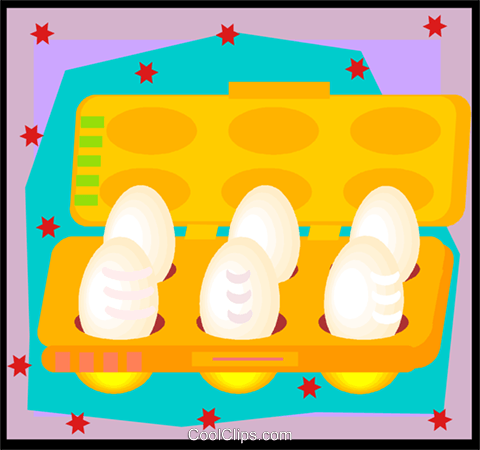 egg container in decorative frame, eggs Royalty Free Vector Clip Art illustration vc007129