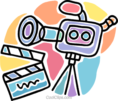 motion picture camera with clapper board Royalty Free Vector Clip Art illustration vc007251